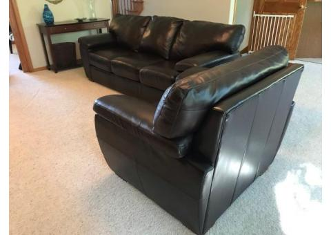 La-Z-Boy genuine Leather Couch & Chair in dark brown